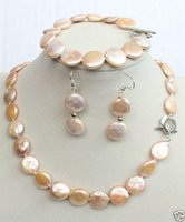 Wholesale Natural MM pink Freshwater coin pearl necklaces bracelet quot earring