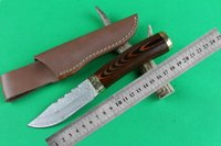 damascus hunting knife - Hot Sale Handmade Damascus Knives Survival Camping Hunting Knife With Damascus Steel Blade HRC