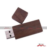 logo usb flash drive - 1GB Wooden USB Flash Drive Genuine Storage Memory Thumb Stick Pendrive Brown Walnut Wood Suitable for Logo Engraved