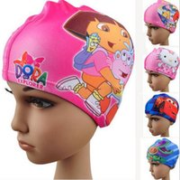 Wholesale Swimming Caps Boys Girls Hats Cartoon Dora Spiderman Cars KT Thomas for Children Kids Child Lycra Swimming Caps Styles