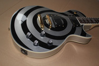 Wholesale 2015 New Arrival Hot Selling Top Quality Les Custom Shop Zakk Wylde bullseye Silivery Black EMG Pickup LP Electric Guitar