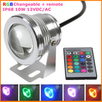 Wholesale 20X Waterproof DC12V W IP68 RGB LED Underwater Lamp Light for Swimming Pool Pond Aquarium Colors Change With IR Remote DHL Free