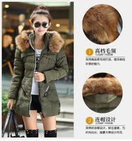 Wholesale BK Female Hooded Long Parka Overcoat Fashion Double Color Zipper Down Coat Elegant Big Fur Collar Womens Winter Jackets