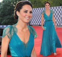 Wholesale 2015 Kate Middleton Evening Dresses with Cap Sleeves London Olympic gala Celebrity Dresses Pleats Teal Color Long Chiffon Lace Evening Gowns