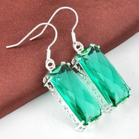 Cheap Free Shipping--5pairs   Lot Lucky Shine Wedding Jewelry Vintage Square Green Amethyst Prasiolite Gemstone 925 sterling Silver Drop Earrings