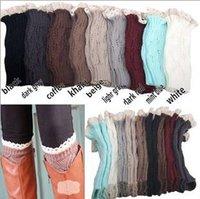 wool boot socks - LJJD3288 pairs New Hot Sale Women short Lace Knitted Leg Warmers lace boot cuff Foot socks boot cuff lace knit leg warmers lace Boot Cuffs
