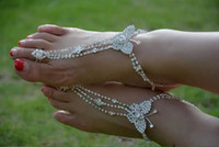 Wholesale 1 Pair Crystal Butterfly Barefoot Sandals Beach Wedding Foot Anklet Ankle Bridal