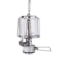 Wholesale NEW LUX Mini Portable Camping Aluminum Lantern Gas Light Tent Lamp Torch Hanging Glass Lamp Chimney Butane