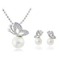 Wholesale Butterfly Pearl Necklace Earrings Sets Full Rhinestone Jewelry For Women Best Gift Fashion Jewelry Sets