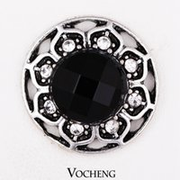 antique buttons - Vocheng Noosa Trendy Crystal Snap Antique Silver Plated Metal Snap Button Accessories Popper Jewelry for Women Vn