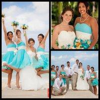 Wholesale Simply Short Chiffon Dresses - Knee Length Bridesmaid Dresses 2015 Sweetheart Ruffles Chiffon A-Line Simply Cheap Beach Wedding Party Dresses with Ivory Sash