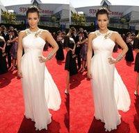 Cheap Sexy White Chiffon Prom Dresses Kim Kardashian Celebrity Red Carpet Gowns 2015 New Fashion Jewel Neck Pleated Beaded Floor Length Dresses