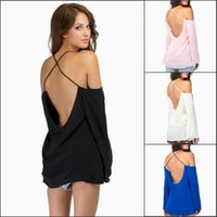 Wholesale 2015 Fashion Women Blusas Femininas Solid Chiffon Off Shoulder Halter Back Cross Straps Blouse Casual Loose Blouses Tops