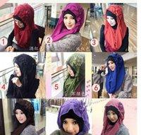muslim lady scarf - 2015 New PC Retail Muslim Lady Scarf Hijab Arabic Dubai Woman Scarf Inner modal cap over D Sunflower Chiffon scarf Wedding Bridal Veil