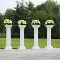 plastic columns - 4pc New Style Disassemblability Plastic Column White Color Roman Column Wedding Decoration Flower Columns