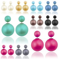 Wholesale Mix Color Double Pearl Earring Fashion Women s Matt Colors Pearl Stud Earrings Jewelry pairs Best Price