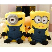 Wholesale New baby styles minions conditioning blanket pillow Despicable me cushion plush toys dolls minion office nap blankets christmas gift