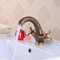 antique counter - Hot Sale Special Offer Contemporary Bathroom Antique Copper Mixer Tap Basin Counter Faucet Double OpenHJ F