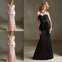 Wholesale Top Lace And Taffeta Trumpet Bridesmaid Dresses Pink Black Sweetheart Ribbons Peplum Floor Length Vestidos De Festa Evening Dresses