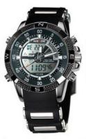 Wholesale 2014 Fashionable watches WEIDE men quartz multi functional waterproof LED double movement double show men s mix A0057