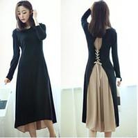 korean maternity dress - Maternity Dress for Pregnant Women Summer Dress Party Korean Fashion Casual Knit Stitching Strap Chiffon Long Section of Elegant Black