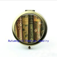 Wholesale New Arrival Vintage Book Spines Pocket Mirror Personalized Compact Mirror Custom Pocket Mirrors