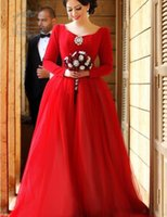 big decoration bows - Fashionable V Neck Red Long Wedding Dress with Long Sleeves Big Bow Decoration Soft Tulle Long Train Wedding Gown