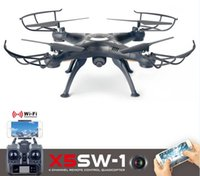 Wholesale 2016 Drones SYMA X5SW WIFI RC Drone FPV Helicopter Quadcopter with HD Camera G Axis Real Time RC Helicopter Toy
