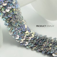 venda por atacado elastic tape-Sequin Beaded esticar elástico 3 Row Glitter prata Lace Banding Tape Faixa de fita para vestuário Costume Sewing Supplies 30yard / T705