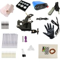 Wholesale 7149K2 Cheap beginner Complete Tattoo Kit Machine Black Ink Power Pedal Needles Grip