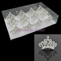 Tiaras alloy cleaners - 12pcs Mini Crystal Clean Transparent Rhinestone Princess Tiaras Crown Hair Comb Teeth Combs Wedding Party Girl Kids Hair Accessories