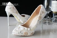 Cheap 2015 Newest plus size high heel Flowers Beaded Sequins crystal rhinestones bridal wedding Pumps shoes Lady Shoes Party Prom High Heels
