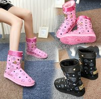 Wholesale new winter MCM Lady snow boots with metal rivets boots women s boots slip printing plus cotton warm shoes tide