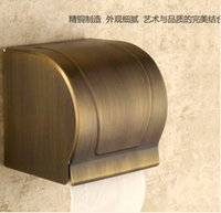 antique toilet paper - Copper antique paper towel rack Thick waterproof paper towel box The closed toilet paper holder Bathroom shelf thickening