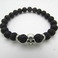 skull bracelet - Men s Beaded Best Quality mm Lava Stone Beads Antique Silver Skull Bracelets Yoga Jewelry Gift