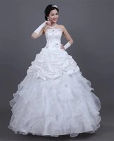 Wholesale 2016 New Fashion Lace Wedding Dress Bridal Party Ball Gown Diamond word shoulder Lace Up Real Image Stock White
