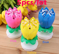 party happy birthday - 5pcs Hot selling Romantic Musical Flower Rotating Happy Birthday Candle Party Surprise Gift Light SV016362