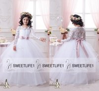 Wholesale 2016 Long Sleeves Flower Girls Dresses Ball Gown Tutu Blush Sash Ruffles Floor Length Girls Pageant Gowns Girls s First Communion Dresses