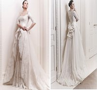 Wholesale A Line Lace Wedding Dresses With Half Illusion Sleeves New Arrival Long Princess Bridal Gowns W1408 Bow Sheer Appliques High Quality