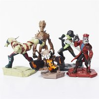 Finished Goods Props Guardians of the Galaxy 5pcs set Guardians of the Galaxy Groot Rocket Raccoon Drax the Destroyer Star Lord PVC Action Figure Model Toys 50sets