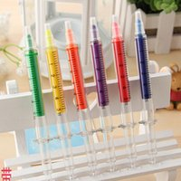 Wholesale Creative colorful syringe highlighter pen office and study marker pen colors mixed Office School Supplies Children s Christmas gift
