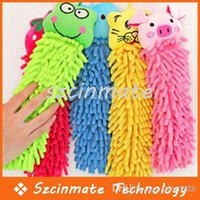 Wholesale Cartoon Animal Chenille Hand Drying Cleaning Hanging Cloth Towel