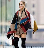fashion ponchos for - 2014 New Fashion Women Brand Design Blanket Poncho Striped Patchwrok Wool Plain Cape For Ladies Coat