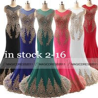 white evening - 2015 Elegant Long Prom Evening Dresses IN STOCK Mermaid Crew Appliques Red Black White Dark Green Fuchsia Mint Long Formal Pageant Gowns
