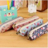 beauty simplicity - Polka Dot Floral pencil bag pencil caase Rectangular bag wind elegant beauty simplicity canvas pencil cases