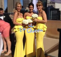 Wholesale Custom Made Yellow Sweetheart Bridesmaid Dress Sheath Length Long Cheap Plus Size A Line Junior Maid of Hornor Dress Prom Formal Gown