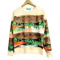 beef burgers - 2015 New high quality fashion Pullovers Women Men Beef Burger Print D Sweatshirts Galaxy Hoodies Tops