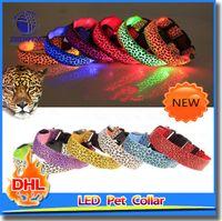 Wholesale Dog Glow Flashing LED Collar Leopard Print Design Puppy Necklace Luminous Pet Decors Dog Harness LED