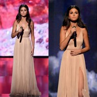 Wholesale 2015 Selena Gomez American Music Awards Long Pary Dresses Split Slit Ruched Backless Evening Prom Gown Custom Champagne Chiffon Formal Gown