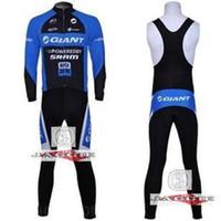 Wholesale 2015 Professional GIANT bib long sleeve cycling jerseys wear clothes bicycle bike riding jerseys bib pants